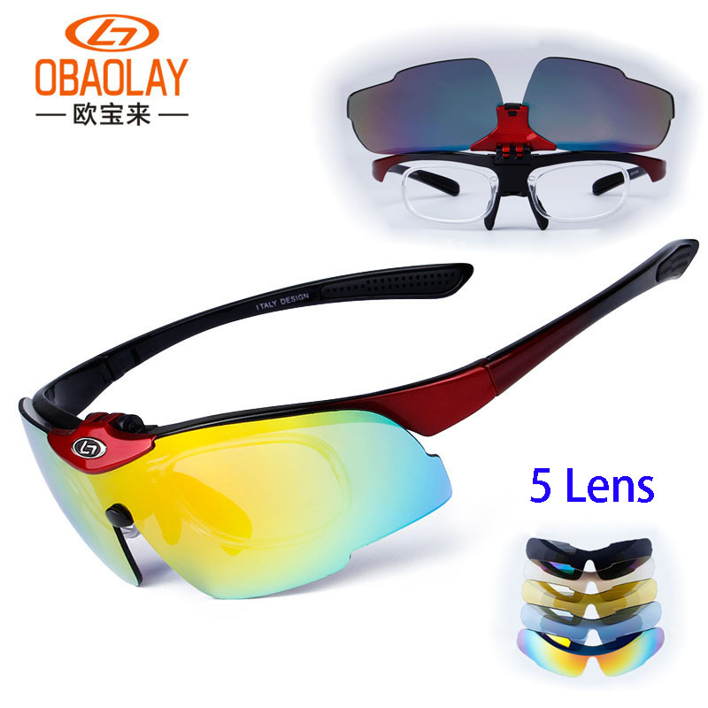 Men Women's Polarized Cycling Sunglasses Goggles 5 Lens Clear Bike Airsoft Glasses Eyewear UV400 Proof Sport Fishing Sunglasses