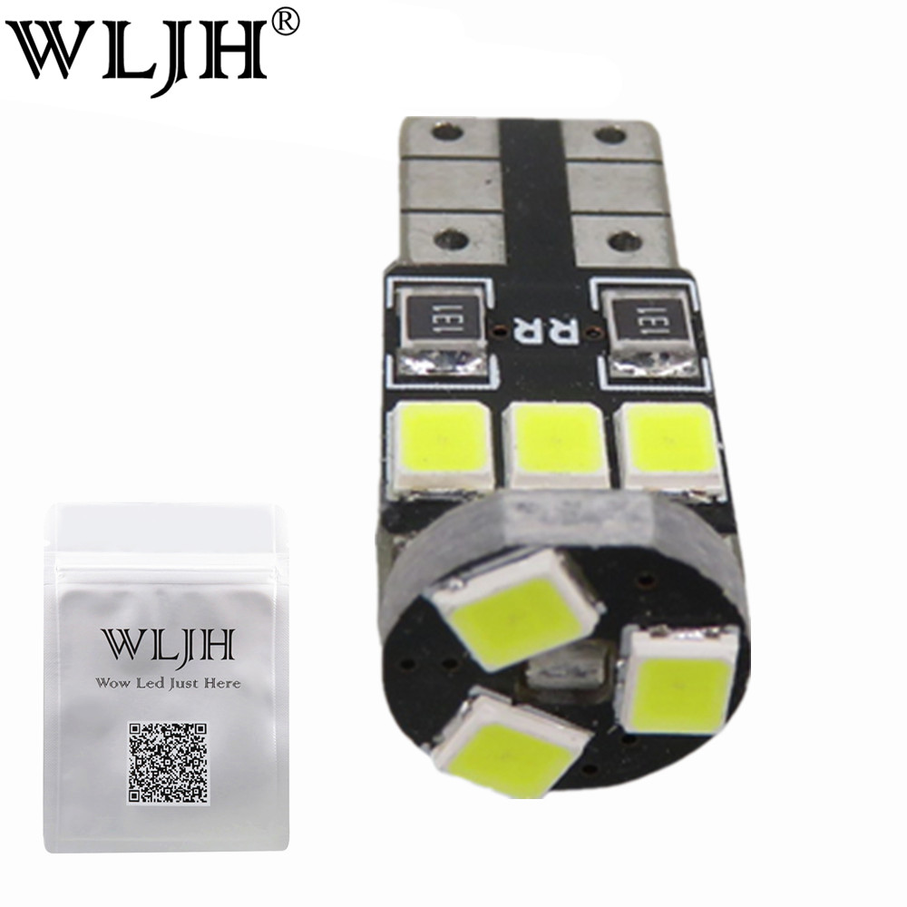 WLJH 10pcs T10 White Canbus W5W LED Car Light Error Free 9SMD 2835LED 501 Warning Side Light Bulbs Sidermarker Parking Lighting