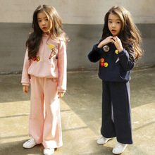 Retail 2pcs Good Quality Girls Autumn Clothing Sets Girls Cute Patch Hooded Pullover Jacket + Boot Cut Pant Children Sport Suit(China)