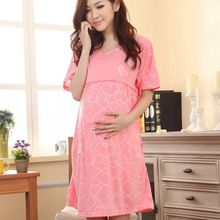 New Fashion Nursing Clothes Pregnant Women Summer Boat Neck Knee-length Dress Maternity Breastfeeding Loose Cotton Nursing Dress(China)