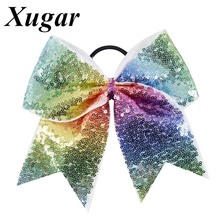 7'' Cheerleaders Large Sequins Rainbows For Sweet Girls Cheer Bow Trendy Hair Accessories Ponytail Elastic Band