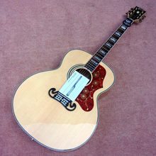 In stock wood color guitar,OEM handmade 43 inch solid spruce top acoustic electric guitars J200