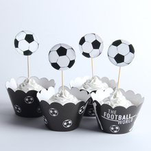 24pcs/lot The Football World Paper Cupcake Wrappers Toppers For Kids Party Birthday Decoration Cake Cups(12 wraps+12 topper)