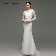 Buy Elegant Ivory Mermaid V Neck Long Sleeve Lace Wedding Dresses 2017 Beading Formal Women Long Bridal Gowns robe de mariee for $201.15 in AliExpress store