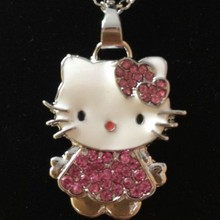 Siywina Girls Jewelry Fashion Crystal Hello Kitty Necklace WOMEN Pendant Necklaces Rhinestone Statement Necklace Pink Color