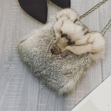 Winter Women chain Shoulder Bags Fox head design Handbags Rabbit Fur Fashion High Quality Women HandBag