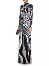 2017 Spring Luxury Brands Jersey Silk Long Dress Women's Vintage Blue Baroque Print Spandex Stretchable Signature Maxi Dress