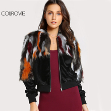 COLROVIE Zip Up Faux Fur Jacket Coat Women Colorful Long Sleeve Elegant Patchwork Winter Coats 2017 New Long Sleeve Autumn Coat(China)