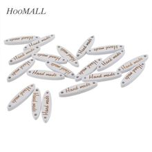 "Hoomall Brand 50PCs 2.7cmx0.7cm Sewing Wood Buttons ""Handmade"" Letter Carved 2 Holes Oval Decorative Buttons Scrapbooking(China)"