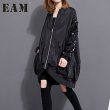 [EAM] 2017 Spring Fashion New sequined collar long-sleeved coat loose plus size zipper jacket 1023A1