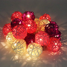 Buy New 20 LED 250cm Warm White Rattan Ball LED String Fairy Lights lighting Christmas Wedding Party Decoration Battery Operated for $7.10 in AliExpress store
