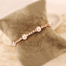 High Fashion ABS Pearl Bangle Cuffs Bracelet Europe Style Popular Summer Jewelry Classy Rose Gold Color Bracelets With Crystals
