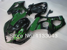 Injection For SUZUKI GSX-R1000 K3 03 04 Green Flame Black GSX R1000 K3 GSXR 1000 2003 2004 GSXR1000 Fairing Kit+7gifts