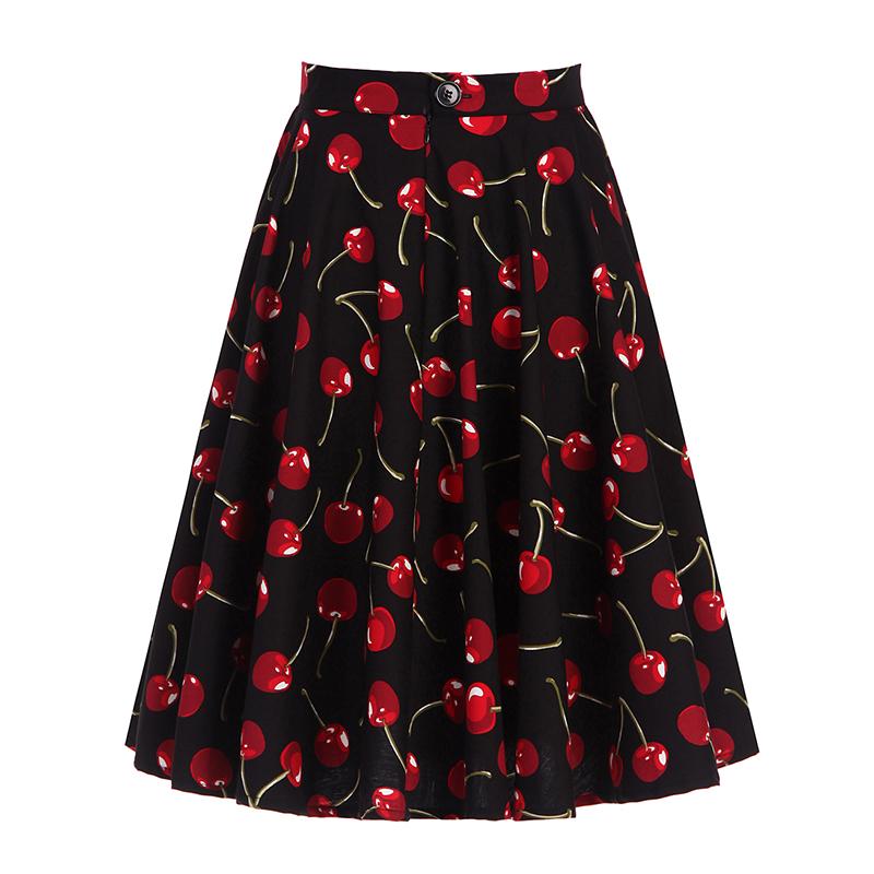 Kostlich 2017 Black Skirts Womens Cotton High Waist Cherry Print Elegant Midi Skirt Big Swing Hepburn 1950s Vintage Women Skirt (4)