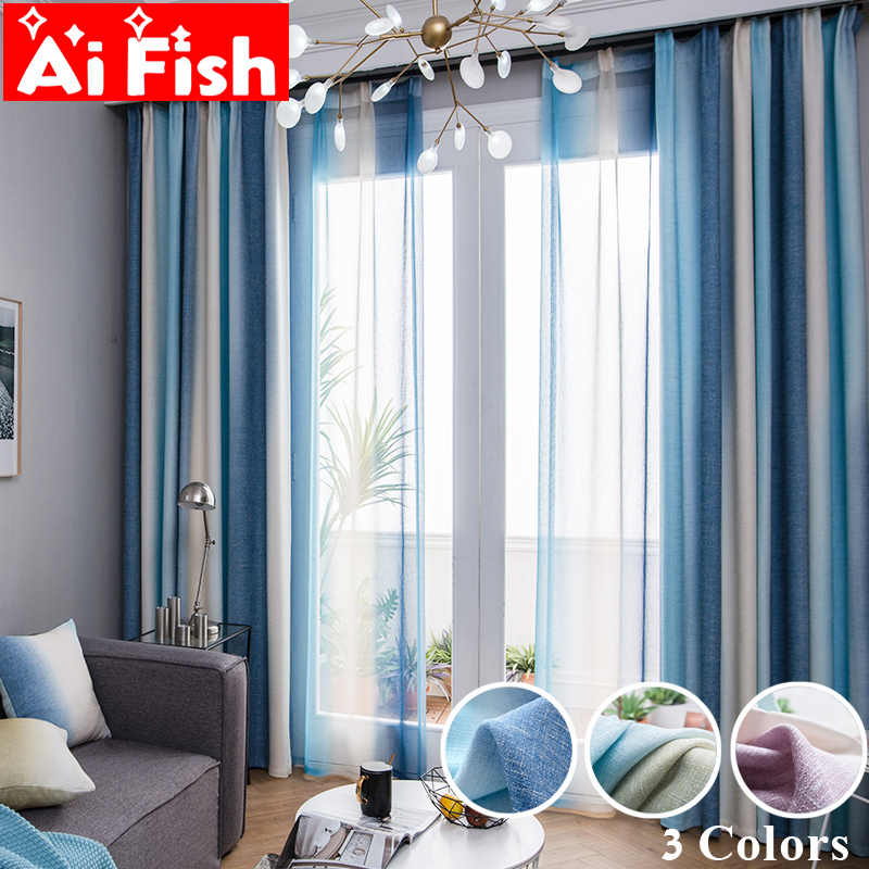 Color Stripes High Shade Curtains For Living Room Bedroom Kitchen Curtains Tulle Custom Mediterranean Style Home Decor wp109-40