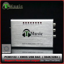 Hifi Mini DAC PCM5102 XMOS USB DAC Sound Card 384K 32bit with Headphone Output(China)