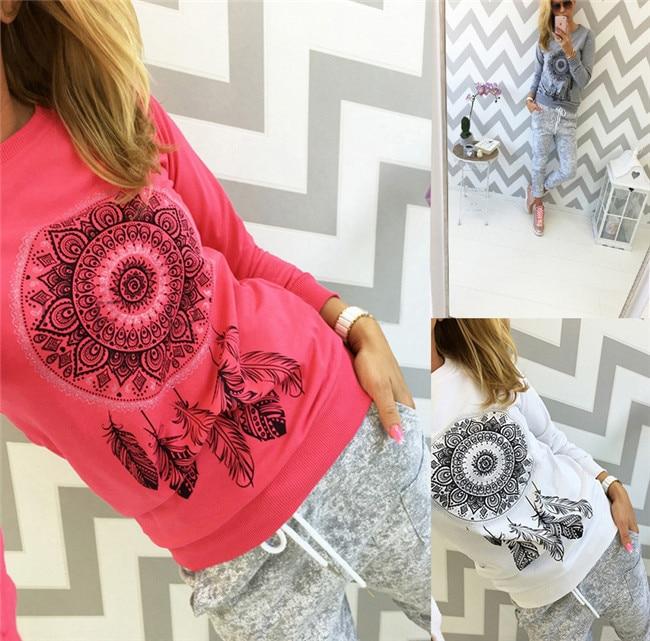 Women autumn capless sweatshirts full sleeve female pink hoody Dreamcatcher printing funny plus size hoodies camiseta pullovers 1