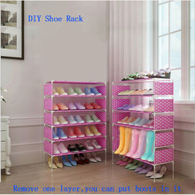 DIY Simple 4Layer Waterproof Shoe Rack Durable Non-woven Metal Steel Pipe Fabric Shoes Storage Organizer Cabinet Boots Holder