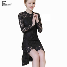 Lace Dresses 2018 Spring Autumn Women Fashion Slim Fitted Hollow Out Crochet Red Black Lace Party Work Mini Mermaid Dress 2005(China)