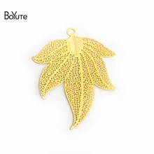 BoYuTe 10Pcs 45*45MM Brass Filigree Maple Leaf Charm 2 Colors Diy Etched Sheet Pendant Charms for Necklace Jewelry Making