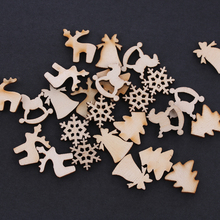 30pcs/lot 5 Designs 20mm Natural Wood Christmas Ornaments Reindeer Tree Snow Flakes Rocking Horse