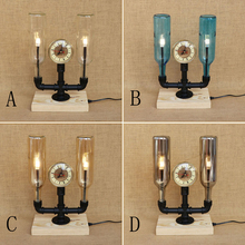 Modern Bottle lampshade desk light vintage clock with switch tabel light include G4 bulb for bedroom bedside office study 220V(China)