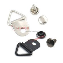 "50 Pcs / Lot 10mm 3/8"" triangles Ring Picture Frame Hanger Fastener With Rivets Cap Stud Snap Button Strap"