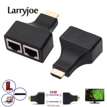 Larryjoe New 2PCS/set HDMI To Dual Ports RJ45 Network Cable Extender Over by Cat5e/Cat6 Cables 1080p For HDTV HDPC PS3 STB 30m