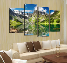 4 panel Blue Sky Mountain With Lake Large HD Picture Decorative Art Print Painting On Canvas For Living Room Wall Unframed