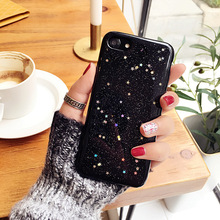 Phone Back Cover For iPhone 6 6S 6/6S 7 Plus rubber Phone Case Bling Glitter Powder Shine Bowknot Sparkle Star cellphone Cover(China)