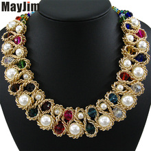 Statement necklace Fashion for Women 2017 Chunky Bead Gold Chain Double Crystal Big Pearl Choker Necklaces & Pendants Jewelry(China)