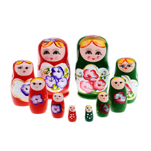 5pcs Wood Dolls Set Wooden Russian Nesting Babushka Matryoshka Hand Paint Dolls