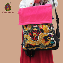 Newest Original15 inches embroidery computer bags Vintage fashion dragon pattern canvas cover Ethnic women Backpack