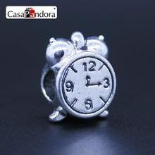 CasaPandora Fashion European 925 Plated Alarm Clock Fit Bracelet Charm DIY Jewelry Making