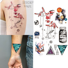W15 1 Piece Outer Space Universe Temporary Tattoo with Space Geometric, Planet, Astronaut Pattern body paint Tattoos(China)