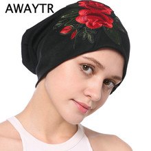AWAYTR Embroidery Flowers Headband for Women Bandanas Winter Turban Black Muslim Head Wrap Fashion Turbante Hair Accessories(China)