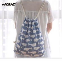 Women Canvas Casual Beach Drawstring Backpack Rucksack Mochilas Fabric Shoe School sac a dos Tote Eco Shopping Sacks String Bags
