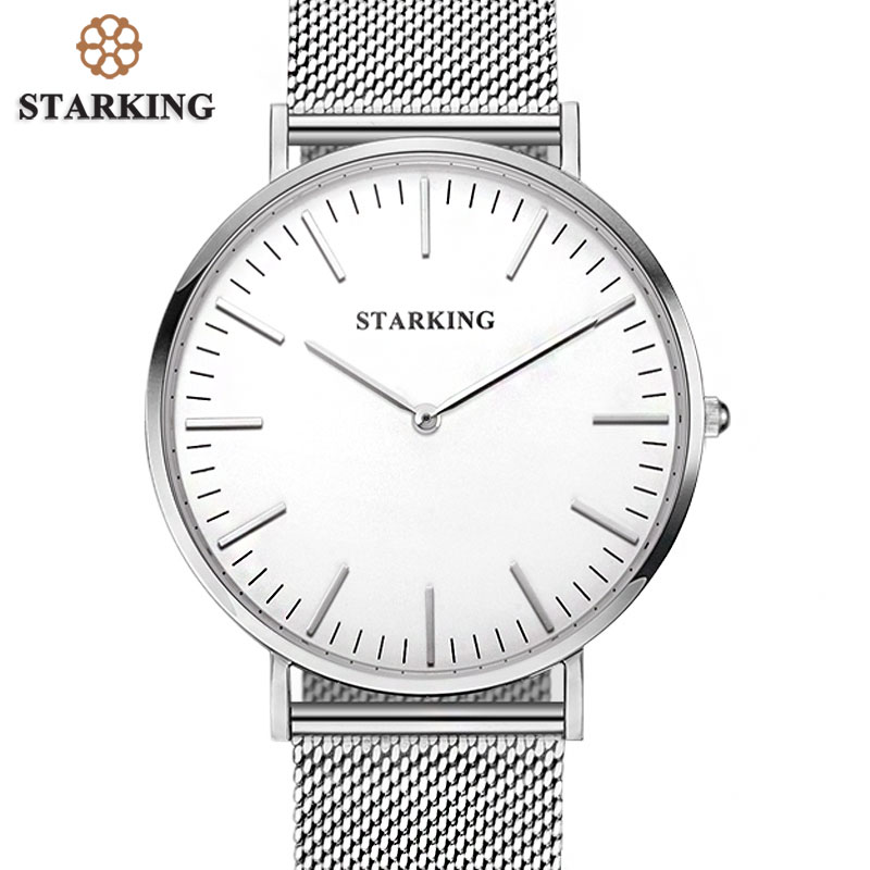 STARKING Top Branded 6mm Ultra Slim Watch Men 316L Steel Mesh Band Quartz Watches Casual Business JAPAN Analog Watch Men Relogio<br>