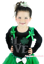 St Patrick's Day Rhinestone Love Green Clover Ruffle Bow Girl Black L/S Pettitop NB-10Year MATP0235