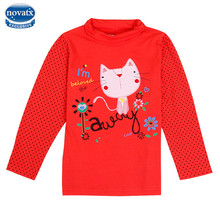 2016 new kids children nova kids wear long sleeve embroidery cartoon cats girl t-shirt polka dot sleeve bbay girl clothing