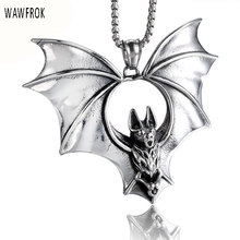 WAWFROK Overlord Bats Pendant Necklace Punk Stainless Steel Necklace & Pendant Men Jewellery(China)
