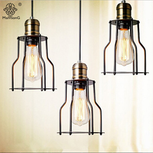 Pendant Lamp Iron One Head Industrial AC E27 Holder Personality Loft Metal Light Dining Room Bar Cafe Restaurant Indoor Lighting
