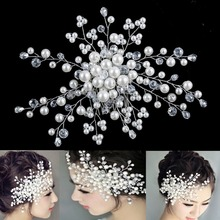 High Qualtiy Pearls Crystal Rhinestone Hair Comb Clip  Bridal Wedding Party Prom Hair Comb Clip Hairpin Accessories