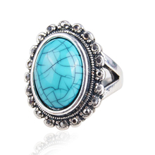 2015 New Design Luxury Silver Color Jewelry Vintage Look Big Ellipse  Rings For Women Gift Of Love