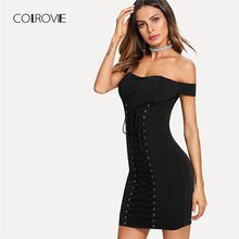 Buy COLROVIE Grommet Lace Front Bardot Sexy Dress 2018 Summer Shoulder Slim Dress Short Sleeve Plain Nightout Women Dress for $14.99 in AliExpress store