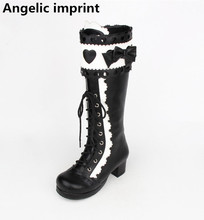 Angelic imprint handmade Women punk motorcycle boots lady lolita Boots woman princess high heels pumps love heart bowtie 33-47(China)