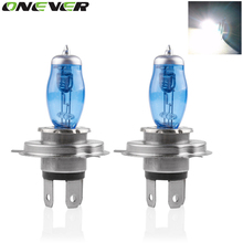 Onever 2pcs Auto Car HOD Halogen Bulbs 12V 100W H4 Xenon Gas Super Bright White Car Headlight Light Fog Lights Lamp Bulbs