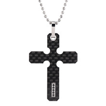 Men's Genuine Carbon Fiber Cross Necklace Pendant with Black / White CZ Stone Inlay 22 inch Stainless Steel Ball Chain CF009P(China)