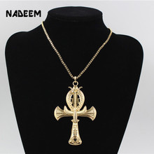 Ancient Ankh Cross Of Horus Egyptian Jewelry Male Eagle & Snake Design Pendant Necklace Gold-Color Hip Hop Chain Necklace Men(China)