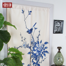 Blue flowers Chinese style blue and white cotton curtain Kitchen partition room half curtain fengshui door curtain